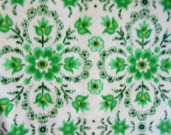 """Fabric, Cotton, Green on White, Flower within a Flower, Black Accents, 1 YARD, St Patricks Day, Irish, Wallpaper-Like, Medium Wt, 44"""" Wide"""