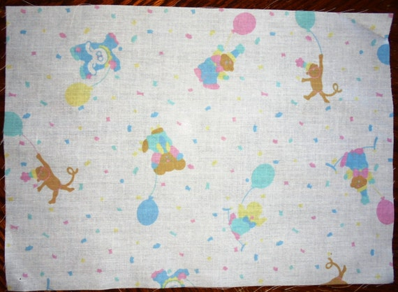 Fabric panels pastel nursery print teddies monkeys for Nursery print fabric
