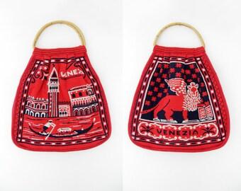 Vintage Venice Italy Bag // 70s Tapestry Fabric Tote Bag // Venezia Italia Handbag