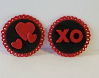 XO Hearts Valentines Day Fondant Cupcake Toppers