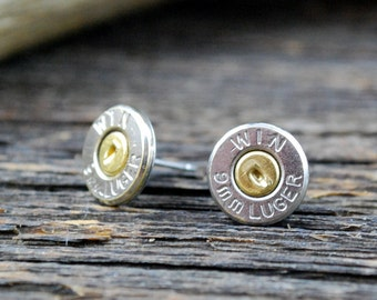 9mm Winchester Bullet Stud Earrings