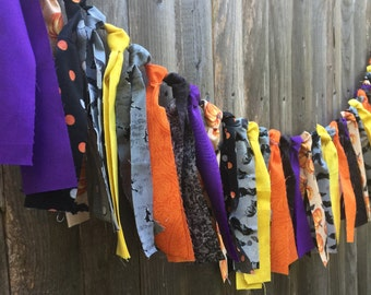 Halloween Rag Tie Banner - Rustic Decor - Photo Prop - Rag Garland - Halloween Party - Fall Decor - Fabric Garland - Party Decor