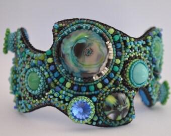 Bead Embroidery Bracelet Cuff, Lampwork Bracelet Cuff, Seed Bead Bracelet Cuff, Handmade, OOAK