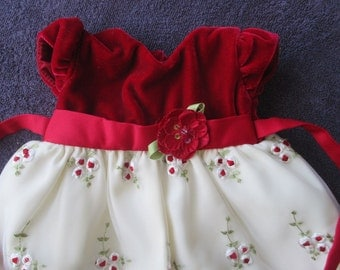 Vintage Doll Dress, Red Velvet Doll Dress, Embroidered Velvet Dress, Vintage Doll clothes,  doll clothes