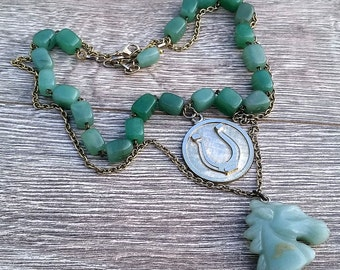 Mr. Ed's Excellent Adventure- Green Aventurine Jade Vintage Element Double Strand Necklace