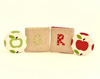 Pocket Mirror and Pouch Apple Design - Choose your initial - Thank You Teacher