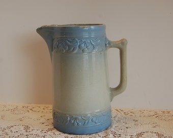 Antique Red Wing Stoneware Pitcher, Cherryband Pottery Pitcher, Earthernware