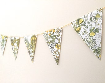 Vintage Floral Bunting Banner - Home Decor and Party Decoration - Yellows