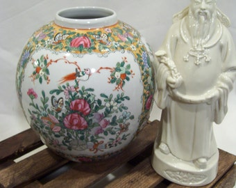 Round Rose Medallion Famille Vase, Butterflies,Birds and Floral, Porcelain Vase