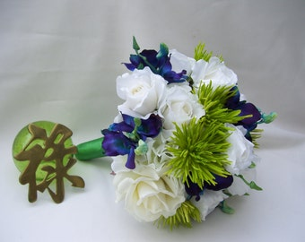 Kirst Bridal Bouquet Lime Green Fugi Mums White Hydrangea Blue Orchids