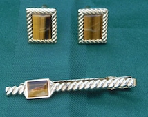 Vintage Jewelry Anson, Gold and Tiger Eye, Cuff Links and Tie Bar or Tie Clip, 3 piece set