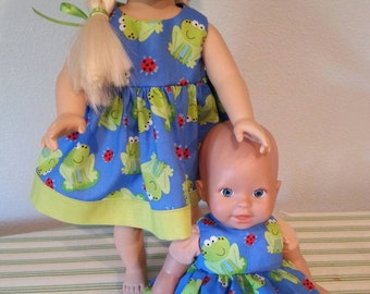 "Handmade Cotton Doll Dresses set... fits 12-14"" and 16-18"" dolls"