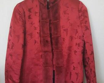 Silk fur trim coat
