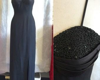 Vintage Black Beaded 80's Gown