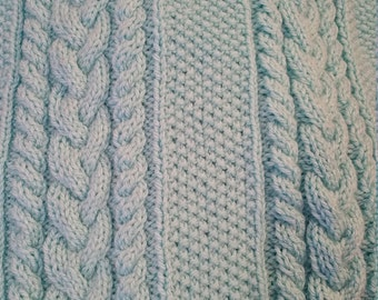 Hand Knit Cabled Baby Blanket