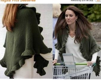 ON SALE Kate Middleton Shawl, Princess Kate Shawl, Olive Green Three Sides Ruffled Cute Shawl, Woman Winter Accessory, Hand knit, Express Ca
