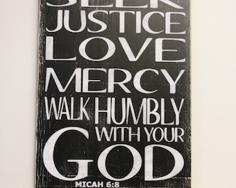 Seek Justice Love Mercy Walk Humbly With Your God Wood Sign Home Decor Wall  Decor Christian Part 43