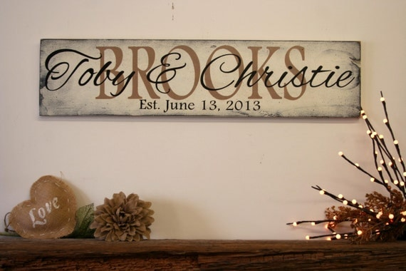 Wedding Gift Name Sign : Name Sign Family Name Sign Personalized Sign Wedding Gift Bridal ...