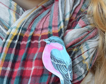 Bird brooch, Wood animal jewelry, Bird Woodland pin, Nature brooch, Teen girl gift, Girlfriend gift,  Women gift, Sister gift, Girl jewelry