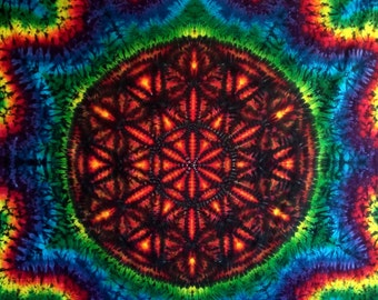 Flower of Life Tie Dye Sacred Geometry Tapestry!