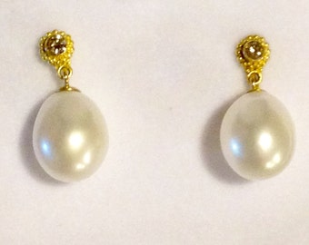 Beautiful Genuine Cultured Pearl and Diamond Earrings in High Karat Gold