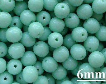 6mm Opaque Pale Turquoise Green Round Beads (50pcs) Czech Pressed Druk Beads 6mm Tiny Round Beads Dark Blue