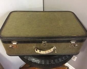 Vintage Mid Century Leather Banded Herringboned Hard Sided Large Suitcase