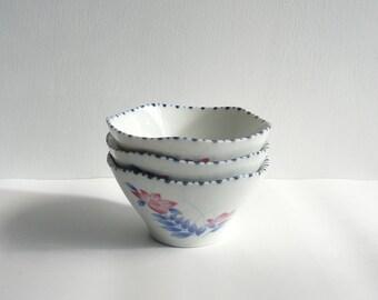 Japanese vintage porcelain bowls - set of 3 - pink balloon flowers - WhatsForPudding #1153