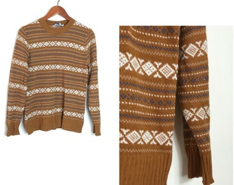 70s vintage fair isle striped sweater // gold striped sweater // boho lifhrweight aycylic sweater // 1970s mod jumper // brown sweater