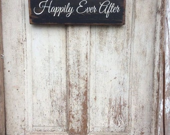 Wedding Sign - Wedding Signage - Happily Ever After- wood sign, 5.5 x 18