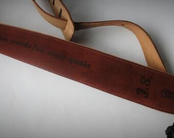 Custom Engraved Suede Guitar straps, custom guitar straps, guitar straps, personalized guitar straps, Rust color