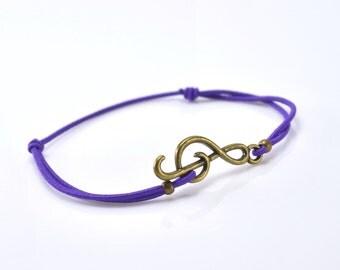 Bracelet music bronze purple cord