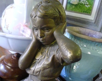 Gold finished chalkware girl statue - Esco
