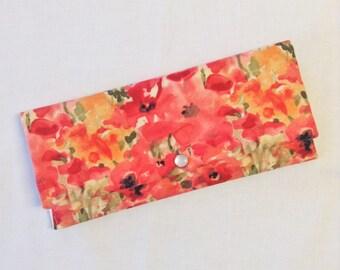 Watercolor Red Posies Wallet