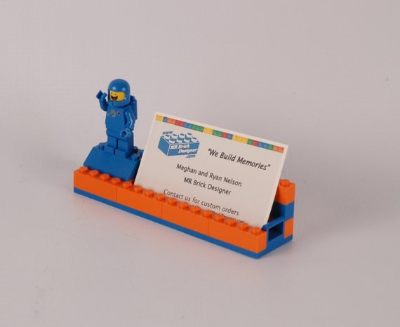 Items similar to orange and blue broncos lego r for Lego business cards