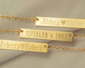 Mothers Necklace Bar,  Child Name Necklace, Personalized Mothers Necklace, Gold Mothers Necklace, Engraved Mother