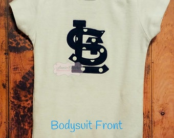 Boys St. Louis Cardinals Personalized Bodysuit, - St Louis Cardinals Monogrammed Bodysuit, - STL Cardinals Bodysuit, - Baby Shower Gift