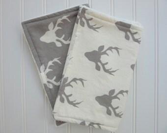 Baby Boy Burp Cloth Set, Set of 2 Burp Cloths: 2 Gray and White Deer Burp Cloths