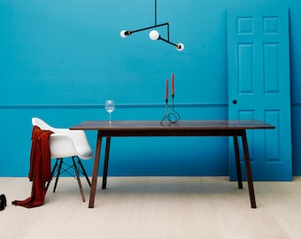 Solid walnut dining table, midcentury inspired contemporary handcrafted design splayed legs - Alfred by bff