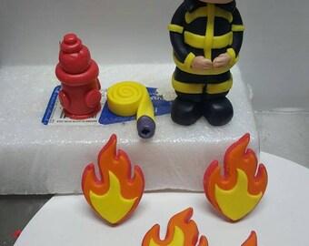 Fondant Fireman/ Fire fighter cake topper set