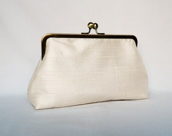 Bridal clutch purse, Ivory Dupioni Silk Clutch Purse, Wedding Clutch Purse, Ivory Silk Clutch,Bridesmaids Clutch