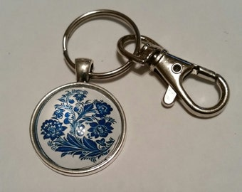 Silver Keychain blue and white flowers keys keyring