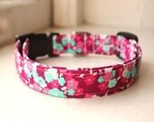 Floral Dog Collar, Fuschia Dog Collar, Girly Dog Accessories, Pet Accessories, Adjustable Collar, Fabric Dog Collar, Plastic Nickel or Brass