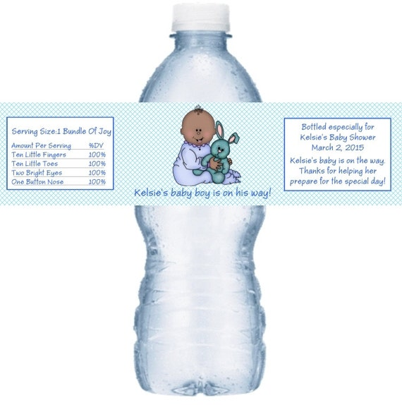 21 Baby Boy Shower Personalized Water Bottle Labels