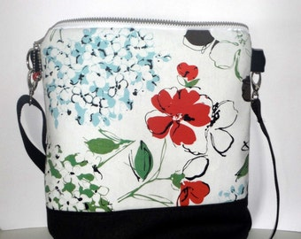 Shoulder bag of Hortensia canvas white anthracite 33 x 42cm