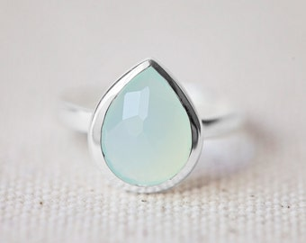 NEW!!! Sea Green Chalcedony Ring - Tear Drop Ring - Faceted Gemstone Ring - Stackable Ring