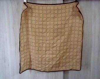 "CELINE Handkerchief Full Print Brown 19x19"" Cotton"