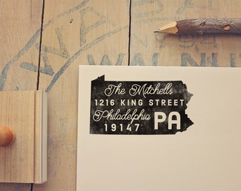 Pennsylvania Return Address State Stamp - Personalized Rubber Stamp