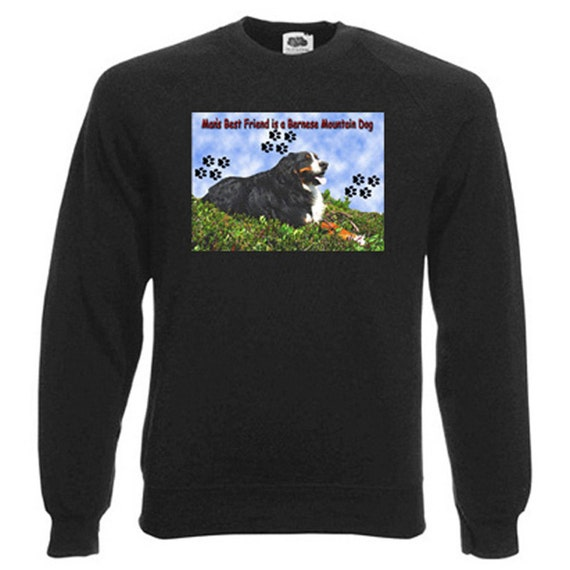Bernese Mountain Dog Sweatshirt. Fleecy Lined Ribbed Cuffs and Neck, Choice of Sizes and colours
