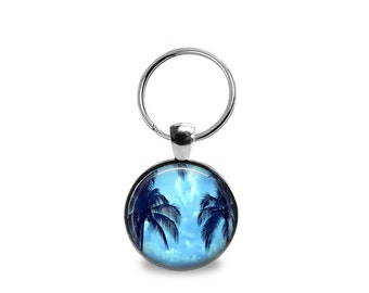 Blue Palm Photographic Pendant or Keychain